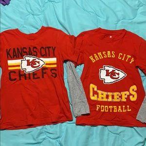 2 boy's Kansas city chiefs shirts